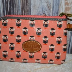 Fossil Owl Wristlet Coral Gray New